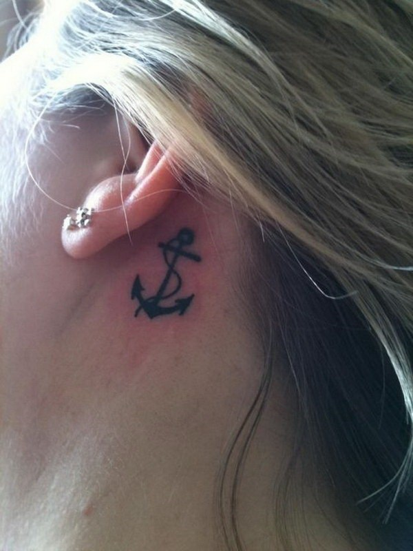 54 Anchor Tattoos Behind The Ear