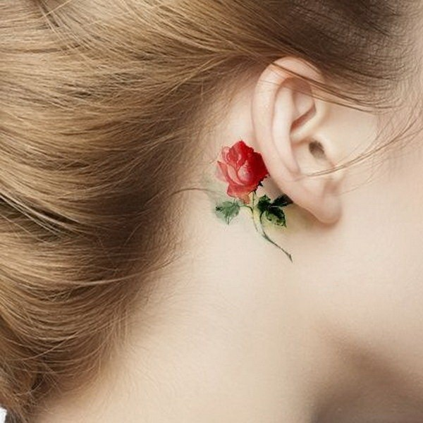 55 Watercolor Rose Tattoo Behind The Ear