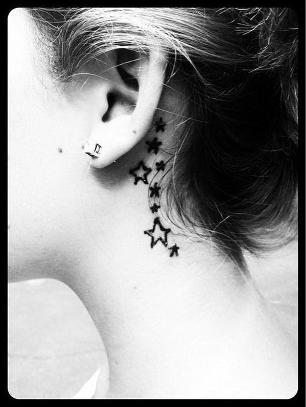 57 Stars Behind The Ear Tattoo