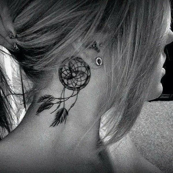 6 Behind the Ear Tattoo with Dreamcatcher