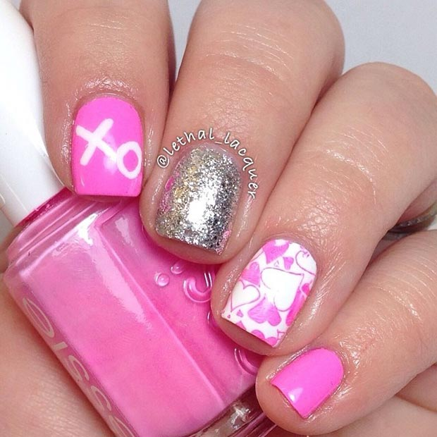 6 Pink Silver Nails