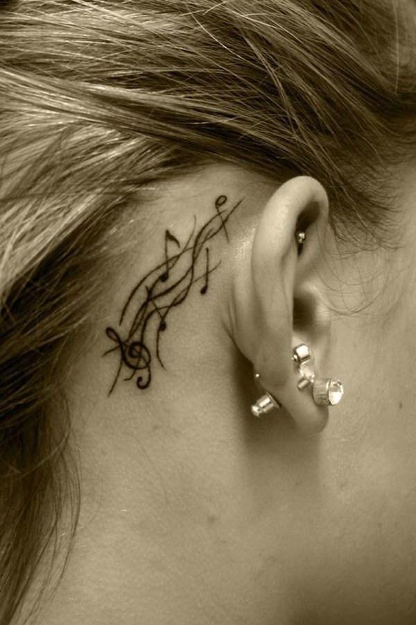 67 Music Ear Tattoo Design