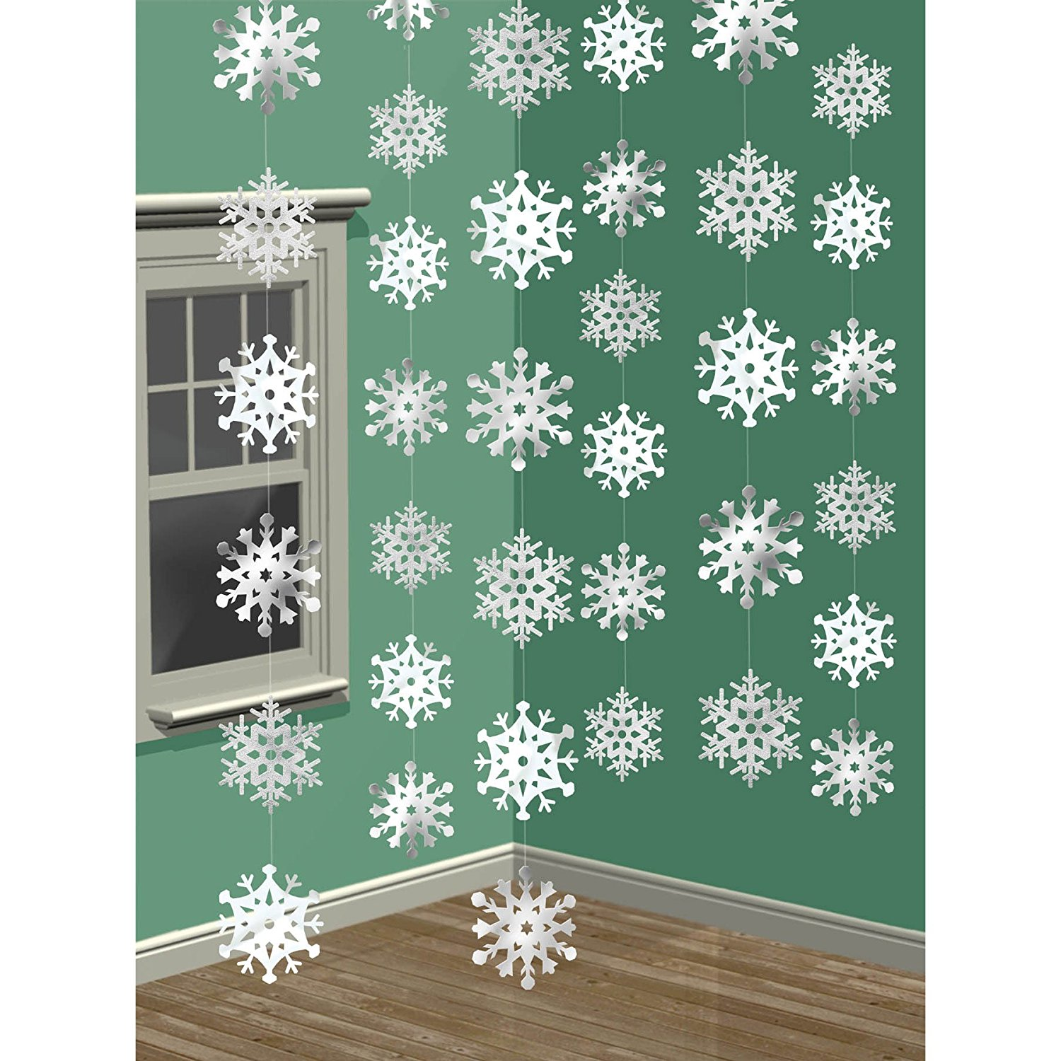 7 Amscan Winter Wonderland Christmas 3-D Snowflake Hanging Party Decoration