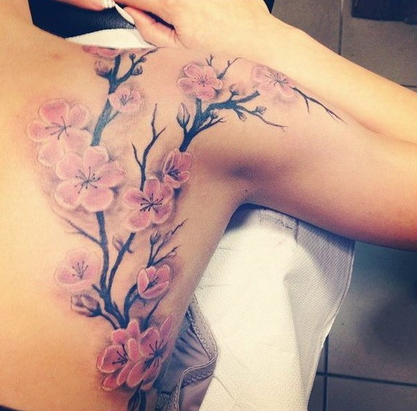 7 Cherry Blossom Tree Tattoo on Back
