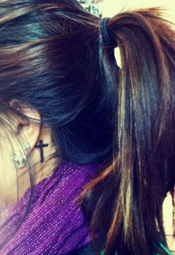 7 Cross Tattoo Design Behind the Ear