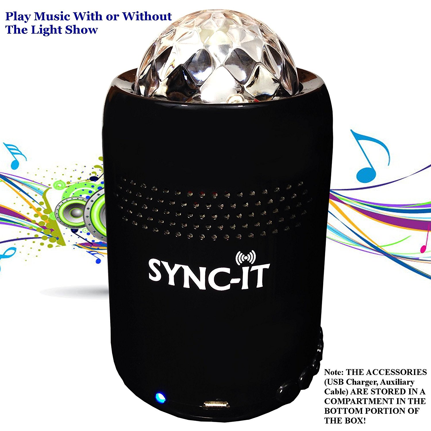 7 SYNC-IT Bluetooth Portable Wireless Party Speaker With Disco Light Show