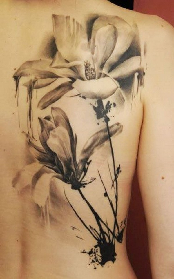 7 Vintage Black and White Watercolor Tattoo