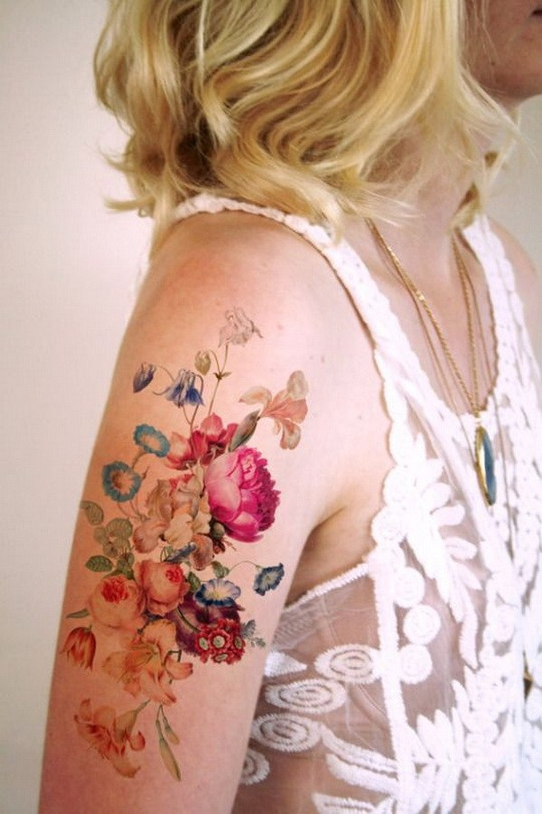 8 Colorful Floral Tattoo Shoulder