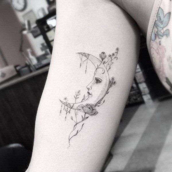 8 Fine Line Style Moon Tattoo on The Inner Arm