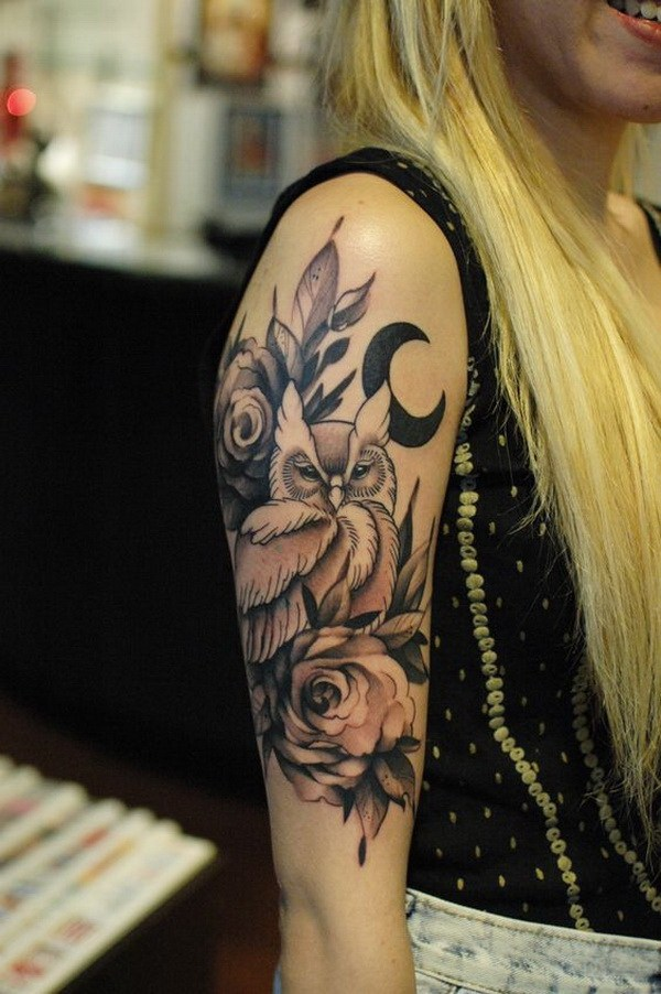 8 Owl with Roses Black and Gray Tattoo on Upper Sleeve
