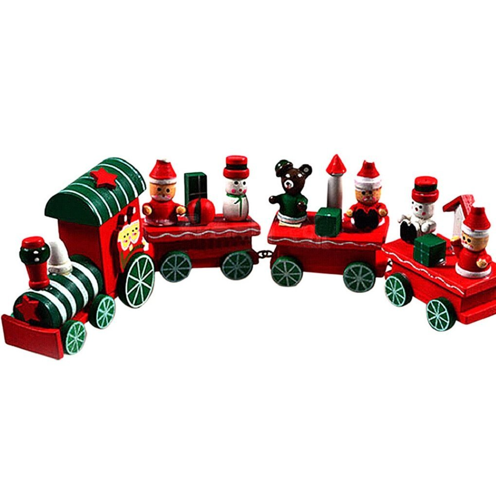 9 FEITONG New 4 Pieces Kids Baby Wood Christmas Train Decoration Xmas Decor Gift