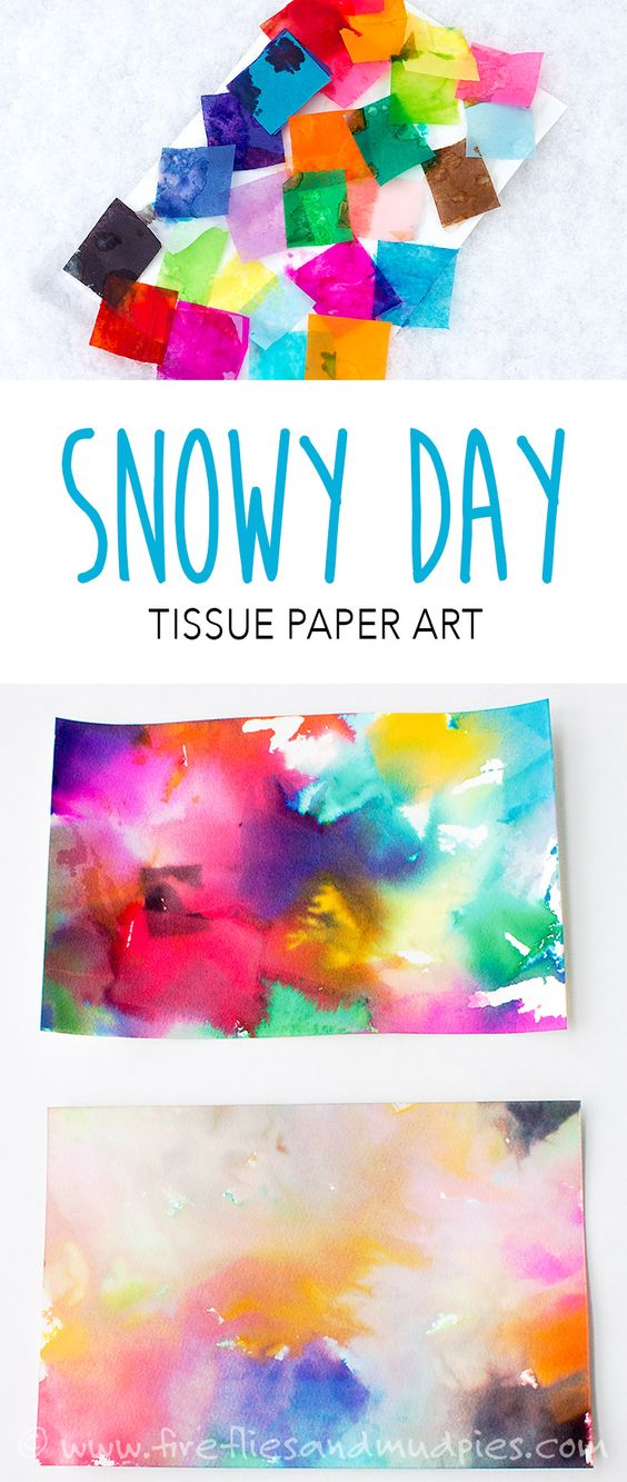 21 Tissue Paper Art with Snow
