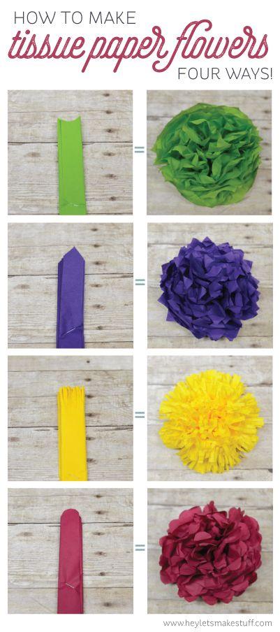 23 TISSUE PAPER FLOWERS FOUR WAYS
