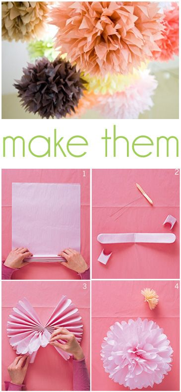 27 DIY Tissue Paper Pom Poms