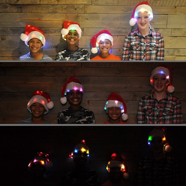 Funny Santa Hat with 20 Blinking Color-changing Light up LED Lights