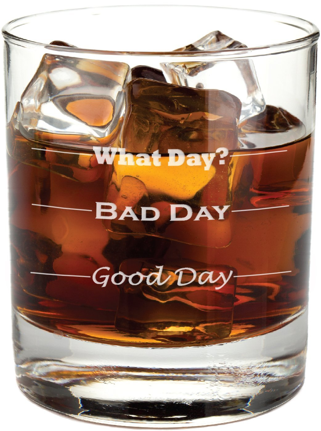 Good Day, Bad Day - Funny 11 oz Rocks Glass, Permanently Etched, Gift for Dad, Co-Worker, Friend, Boss, Christmas
