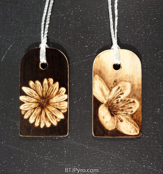 27 Flowers - mini woodburnings