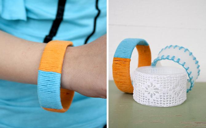 30 Up-cycled bracelets made from plastic bottles and scraps of yarn and lace