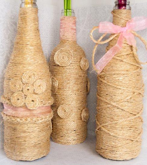 37 Twine Wrapped Decorative Vases