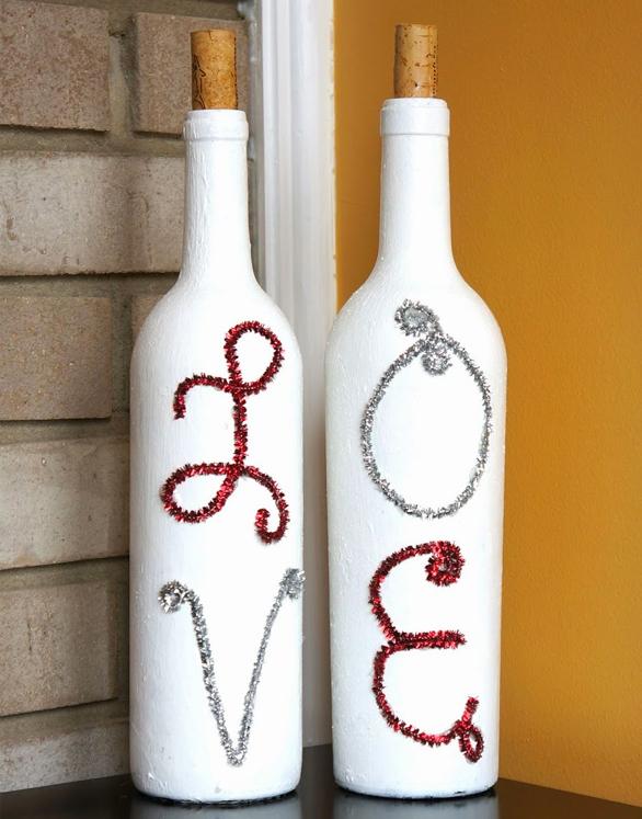 41 Painted Love Wine Bottles