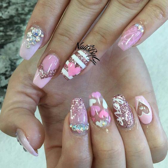 6 valentines nails
