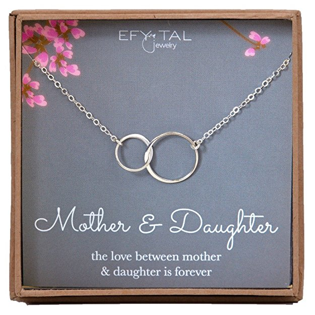 12 Mother Daughter Necklace - Sterling Silver two interlocking infinity circles, Mothers Day Jewelry Gift