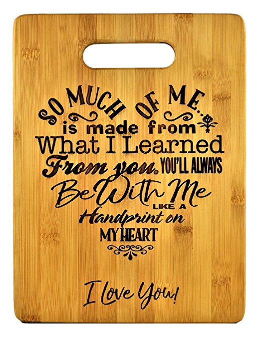 15 Mothers Gift – Special Love Heart Poem Bamboo Cutting Board Design Mom Gift Mothers Day Gift Mom Birthday Christmas Gift Engraved Side For Décor Hanging Reverse Side For Usage