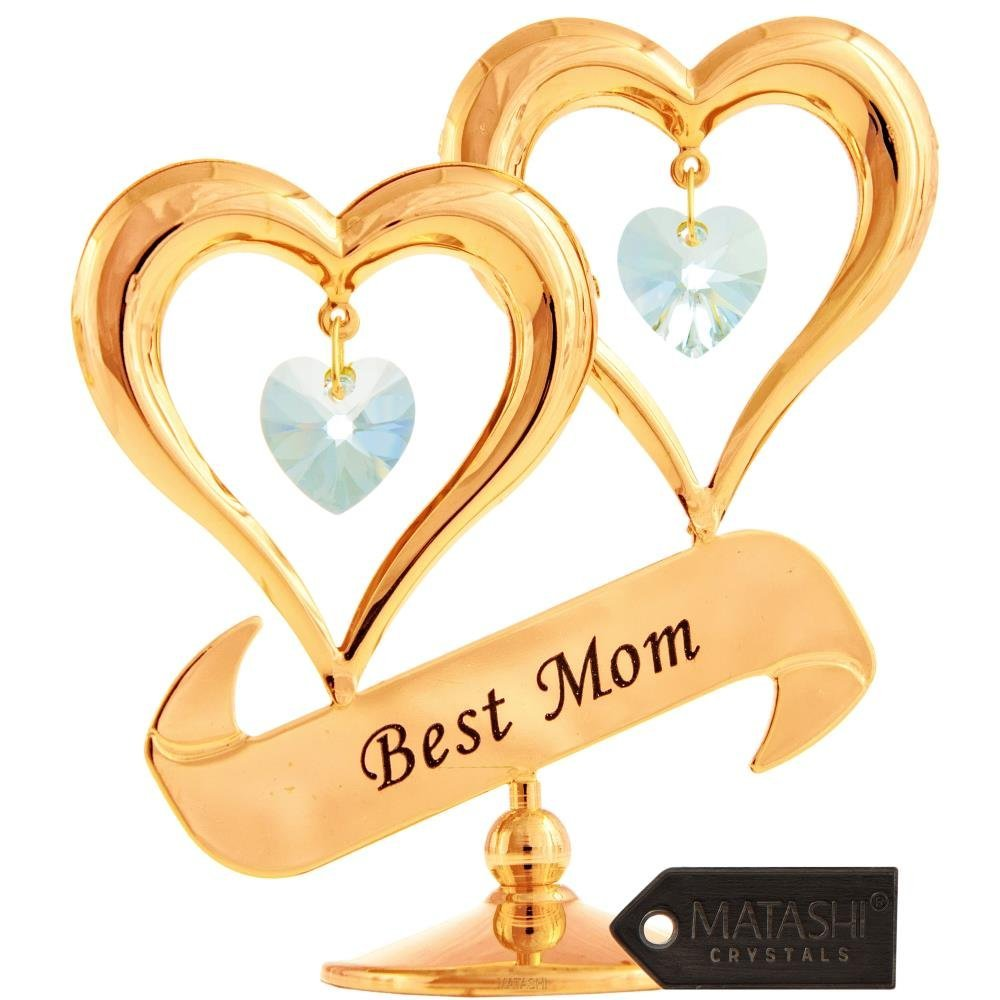 20  Matashi Gold-plated Crystal Studded Double Heart Best Mom Banner Ornament