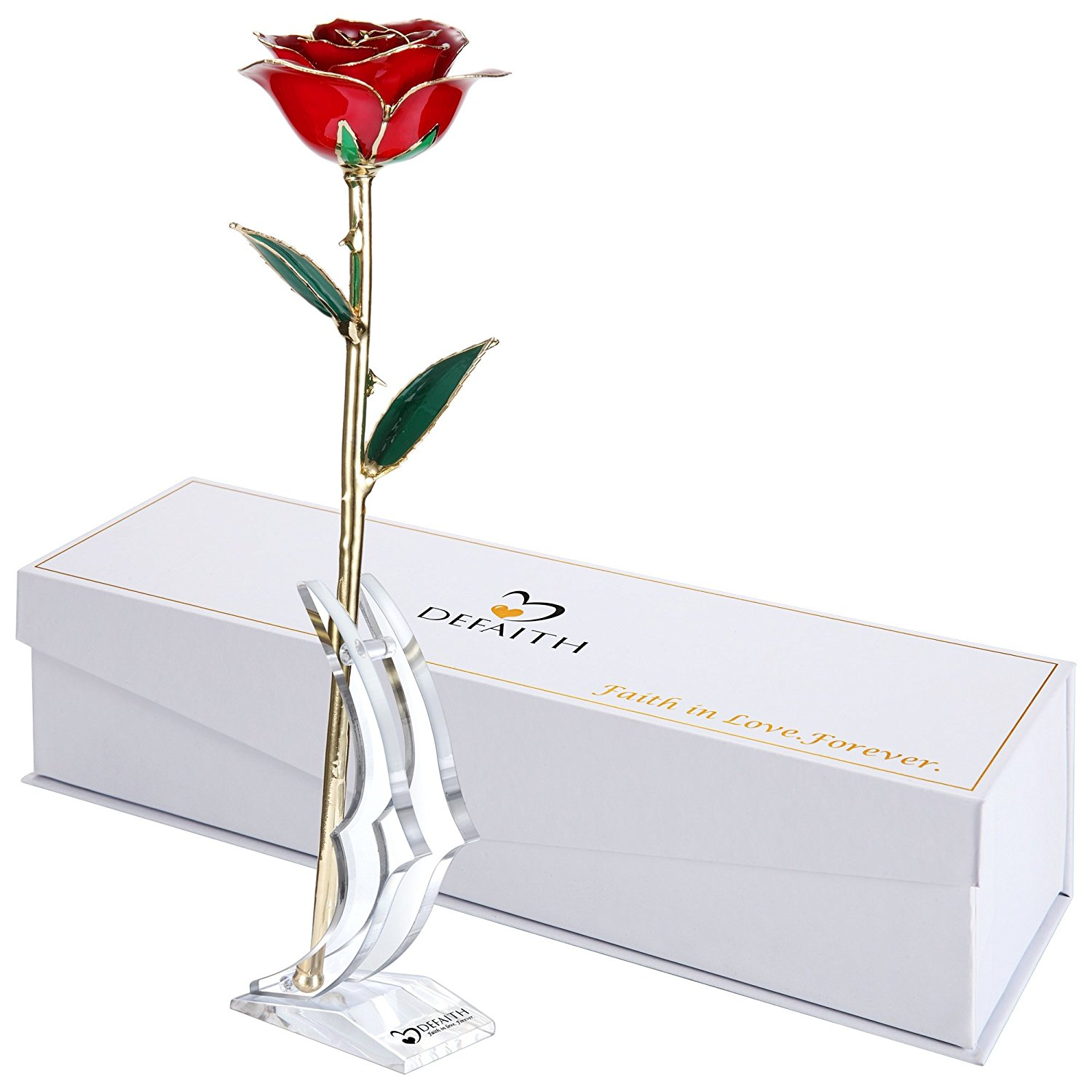 6 DeFaith Red Gold Rose, 24K Gold Trimmed Long Stem Real Rose with Moon-shape Rose Stand. Last a Lifetime