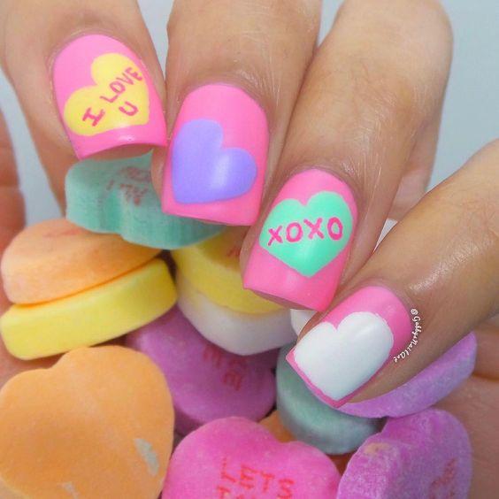 16 valentines nails