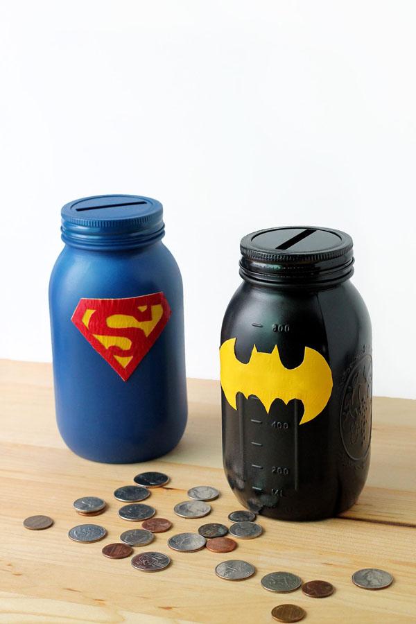 24 Mason Jar Superhero Banks