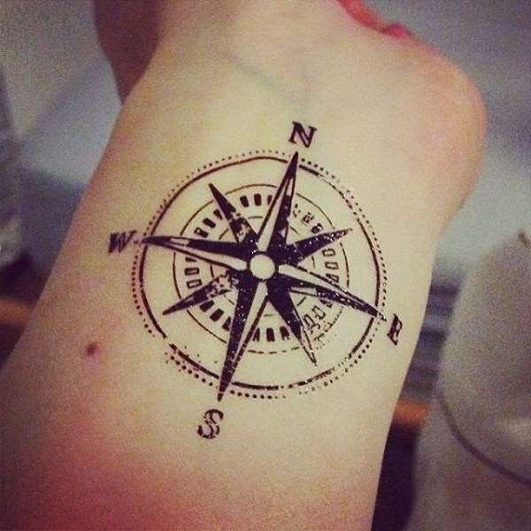 1 Compass Tattoo Design on Forearm