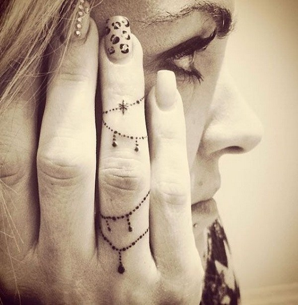 1 Decorative Chain Finger Tattoo Design