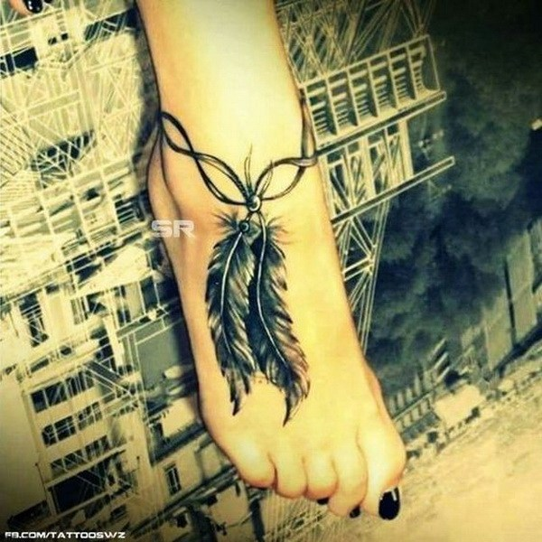 1 Detailed Feather Ankle Tattoo