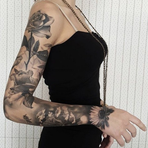 1 Floral Sleeve With Roses and Sunflowers