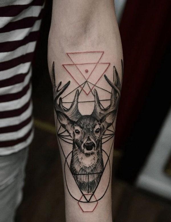 10 Deer Geometric Forearm Tattoo