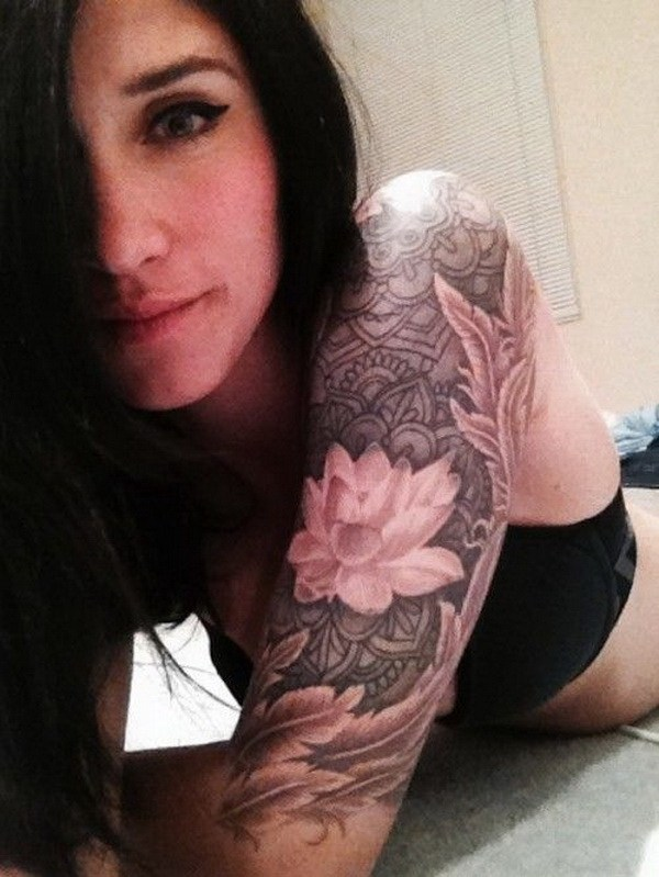 10 Lotus Sleeve Tattoo Designs For Women