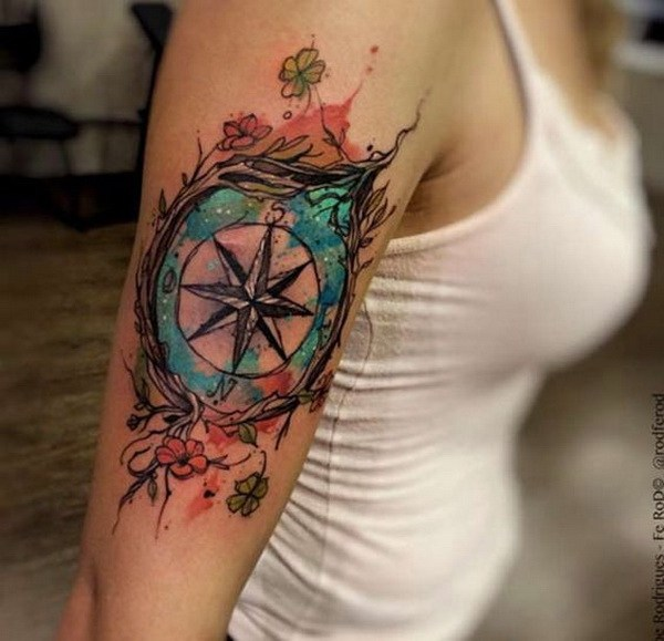 10 Watercolor Compass Tattoo