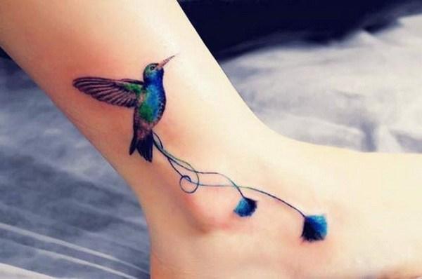 12 Hummingbird Ankle Tattoo