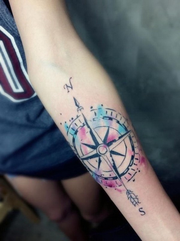 12 Watercolor Compass Tattoo on Arm