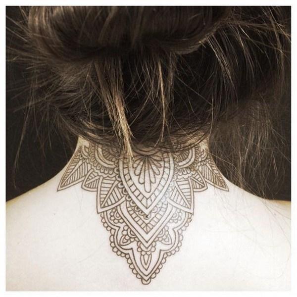 13 Mandala Back of Neck Tattoo