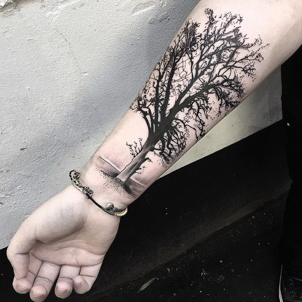 13 Tree Tattoo Design on Forearm