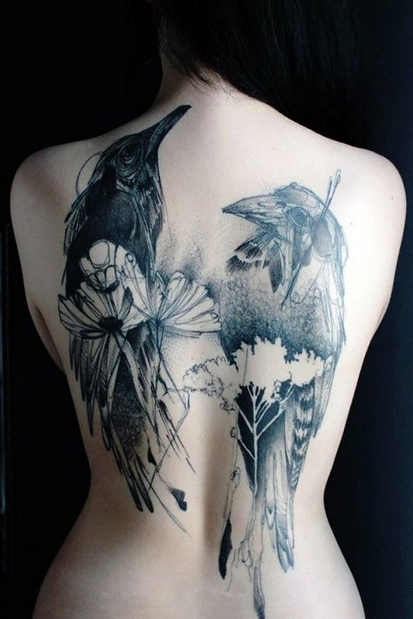 14 Two Bird Tattoo on Back