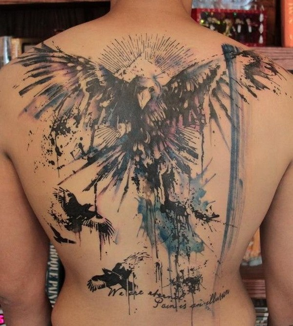 15 Abstract Angel and Crows Back Tattoo