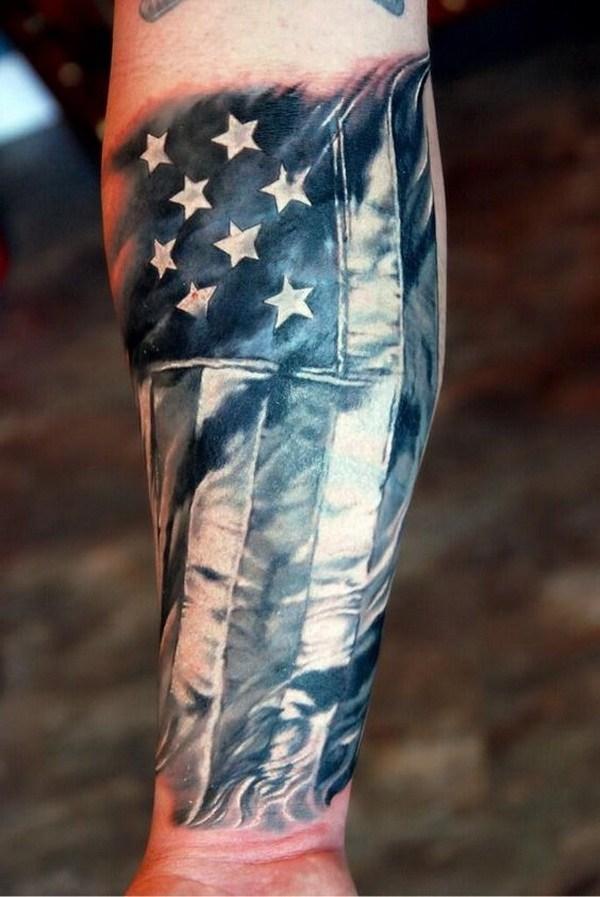 15 America Flag Forearm Tattoo
