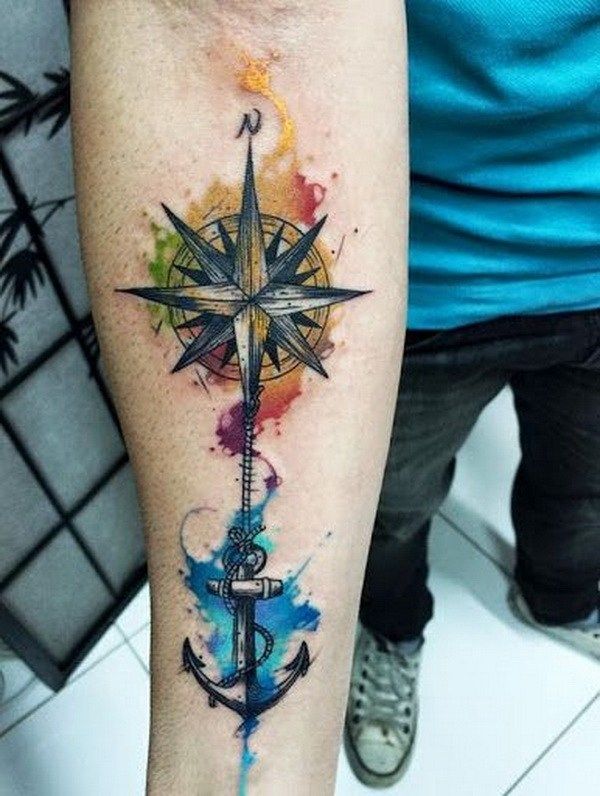 15 Watercolor Anchor and Compass Tattoo on Inner Arm for Men
