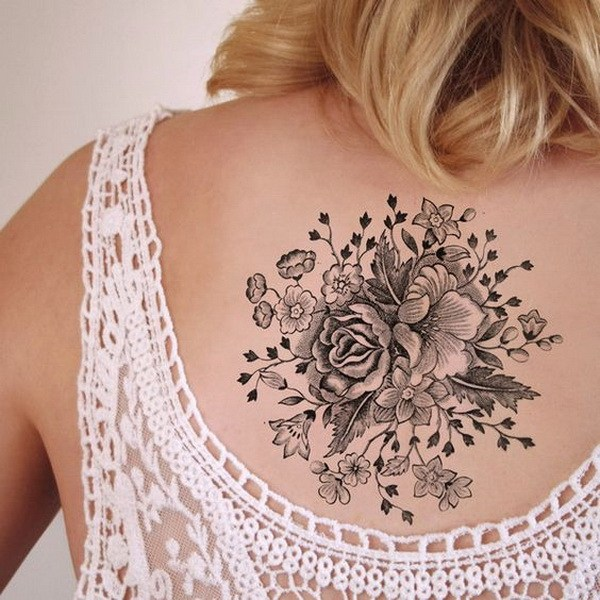 16 Large Vintage Floral Temporary Tattoo