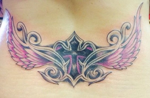 16 Lower Back Tattoo with Cross and Wings