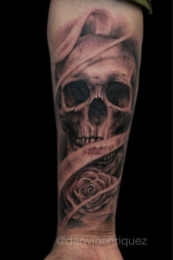 16 Skull Tattoo Design on Forearm