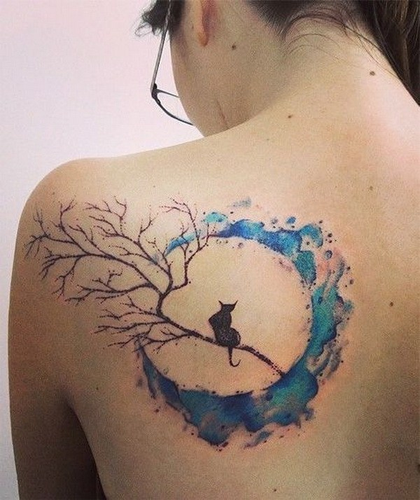 17 Cat And Moon Watercolor Tattoos On Back
